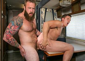 "Bearded stud Aaron Bruiser plows Alexander Motogazzi in ""Dirty Rider"" part 4 from Bromo"