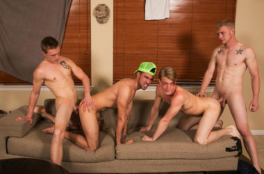 Horny college dudes have a hot bareback gangbang at Reality Dudes