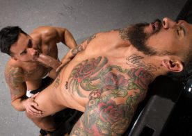"Boomer Banks pounds Bruno Bernal's juicy ass in ""Drive Shaft"" part three from Raging Stallion"
