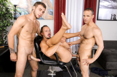 "Alexander Greene, Kirk Cummings & Rodney Steele fuck in ""Barber Shop Sex"" part 2"