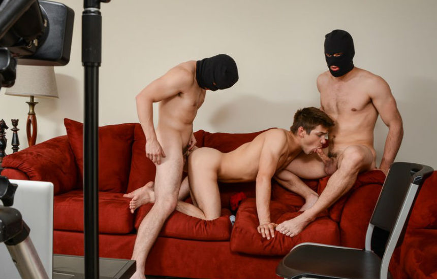 """Jason Maddox and Will Braun fuck Johnny Rapid in """"Stealing Johnny"""" part one from Men.com"""