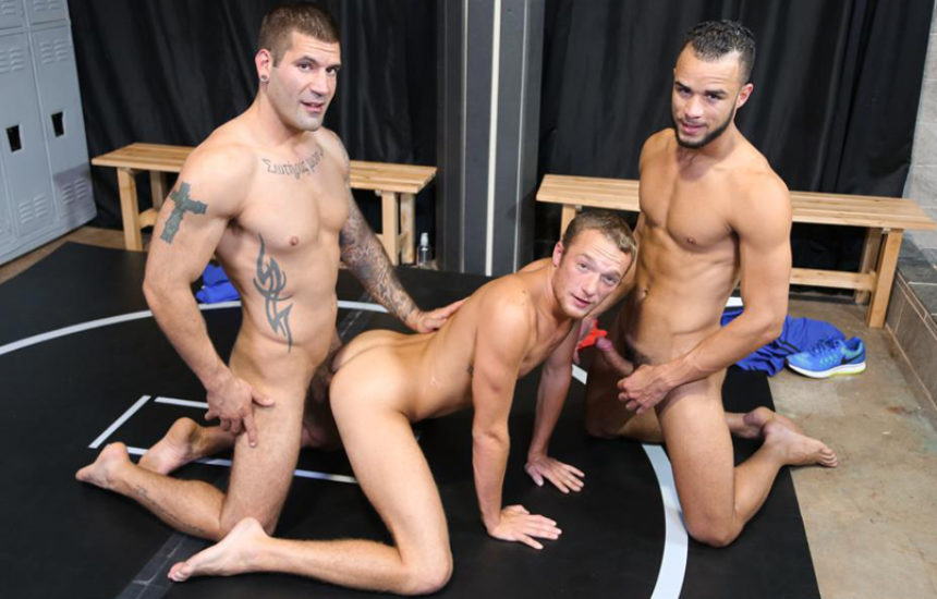 Javier Cruz, Caleb Troy and Derek Reed in a hot threesome from Pride Studios
