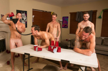 A game of Flip Cup turns into a hot five-guy orgy at Reality Dudes