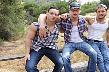 "Jeff Powers, Brandon Evans and Tobias fuck in ""Rednecks"" part 3 from Bromo"