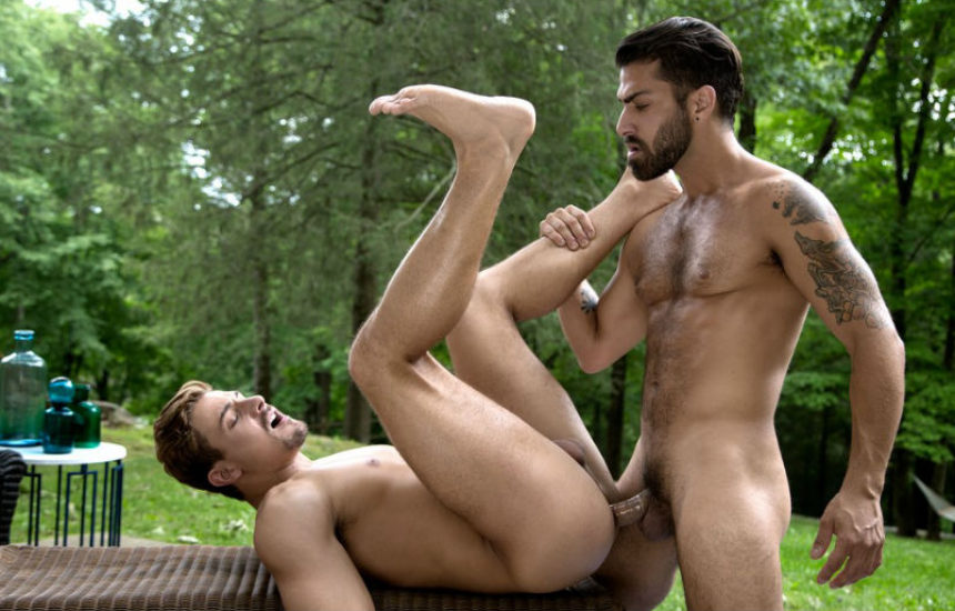 Adam Ramzi fucks Carter Dane in a hot outdoor scene from CockyBoys