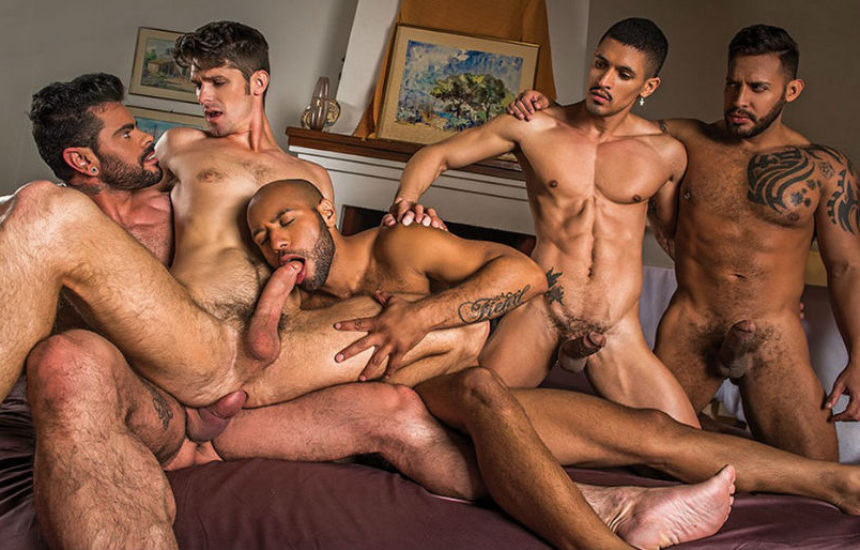 Devin Franco takes four big cocks in a Lucas Entertainment gang bang
