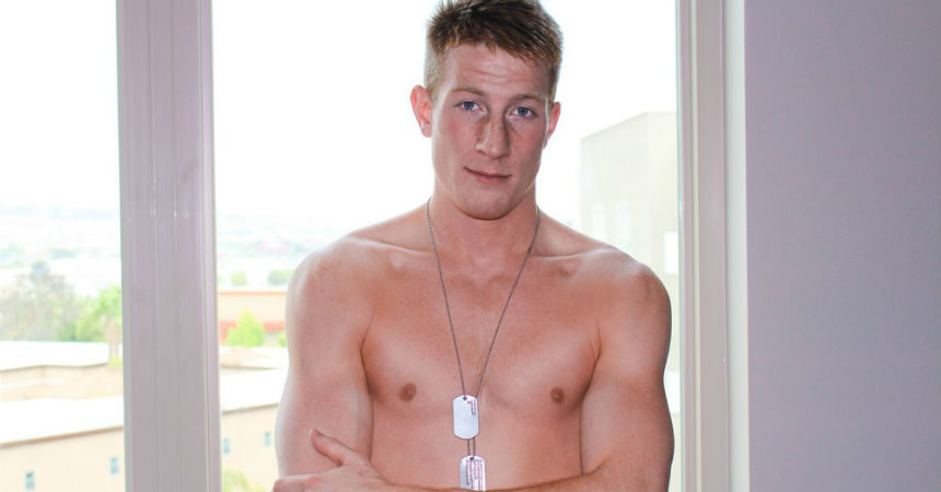 Hot redhead Jacob jerks off for Active Duty