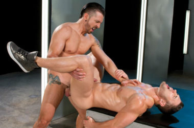 "Jimmy Durano plows Ryan Rose's ass in ""Ultra Sex"" part three from Falcon Studios"