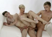 Chris Jansen, Johnathan Strake and Kris Blent in a bareback threesome at Staxus