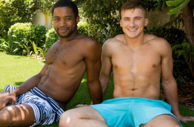 Hot muscle jocks Landon and Porter bareback at Sean Cody