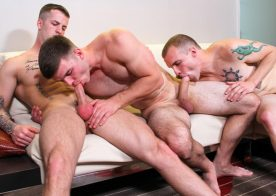 Quentin Gainz and Ivan James double penetrate Colton Phobos' tender hole at Active Duty