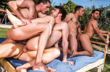 Zander Craze and Stas Landon in a five-man bareback orgy at Lucas Entertainment