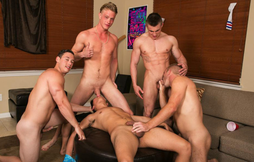 Horny pledge to the fraternity turns in a hot bareback gangbang at Reality Dudes