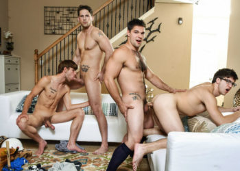 "Aspen, Dalton Briggs, Roman Todd and Will Braun suck and fuck in ""The Purge"" from Men.com"
