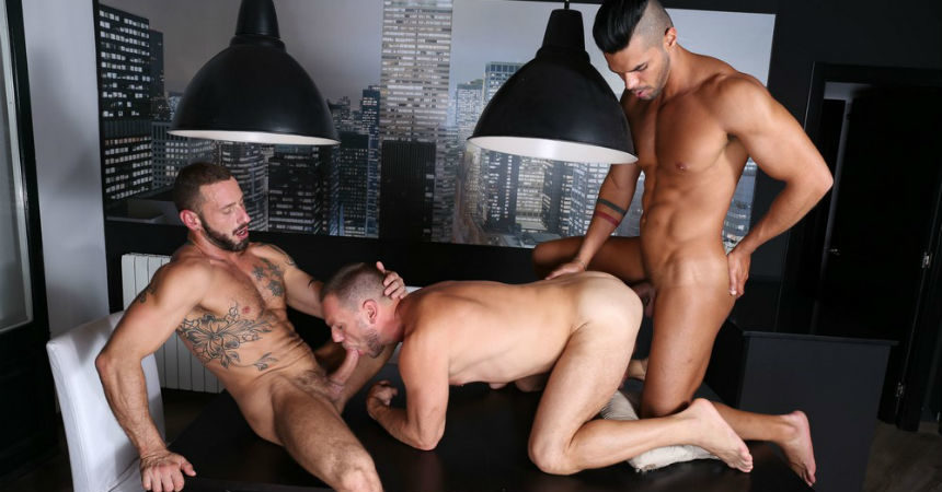 "Hans Berlin, Antonio Miracle and Lucas Fox in ""Nightfall Sex"" from Kristen Bjorn"