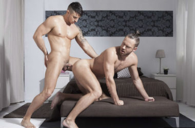 Klein Kerr and Logan Moore suck and fuck each other at Fuckermate