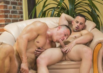 Muscle stud Luke Ward fucks Andy West in a hot bareback scene from Randy Blue