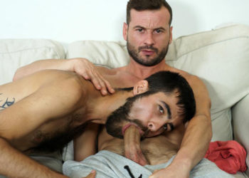 Dany Romeo slides his hard dick into Angel de Vil's hairy ass at Butch Dixon