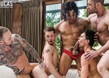 Dylan James and Drae Axtell lead a seven-man bareback orgy at Lucas Entertainment