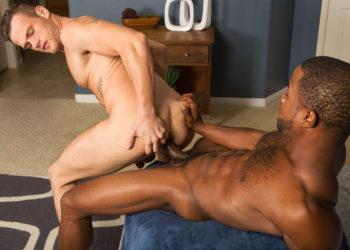 Landon uses his big cock to stretch and stuff Sean's ass hole at Sean Cody
