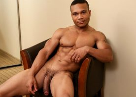Black muscle stud Flex works his incredibly large cock at Next Door World