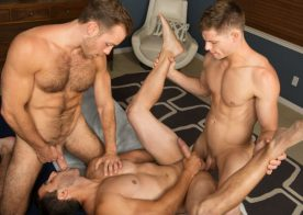 Randy, Dean and Cory in a hot bareback threesome from Sean Cody
