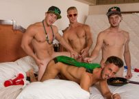Three horny frat boys play roulette on a bottom's back at Reality Dudes