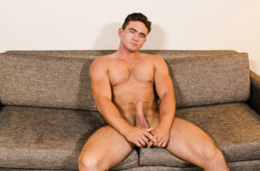 Active Duty newcomer David Prime strokes his juicy cock in his very first video