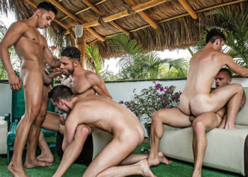 Damien Crosse, James Castle and Devin Franco star in a five star orgy at Lucas Entertainment