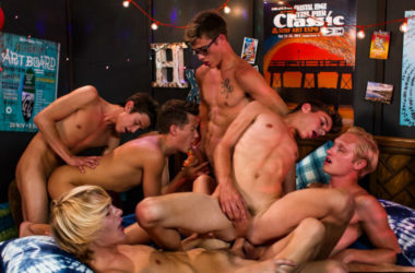 "Six hot and horny Helix boys suck and fuck in ""Lifeguards: Party Wave"""