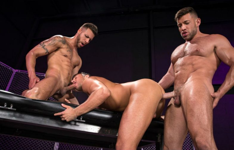 """FX Rios and Bruce Beckham fuck Josh Conners in """"Primal"""" part four from Raging Stallion"""