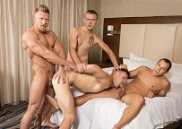 """Leon Lewis, Max London and Zane Anders fuck Brenner Bolton in """"He Likes it Rough & Raw 2"""""""
