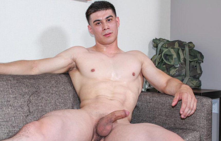 Muscular new recruit Zach works his juicy uncut cock for Active Duty
