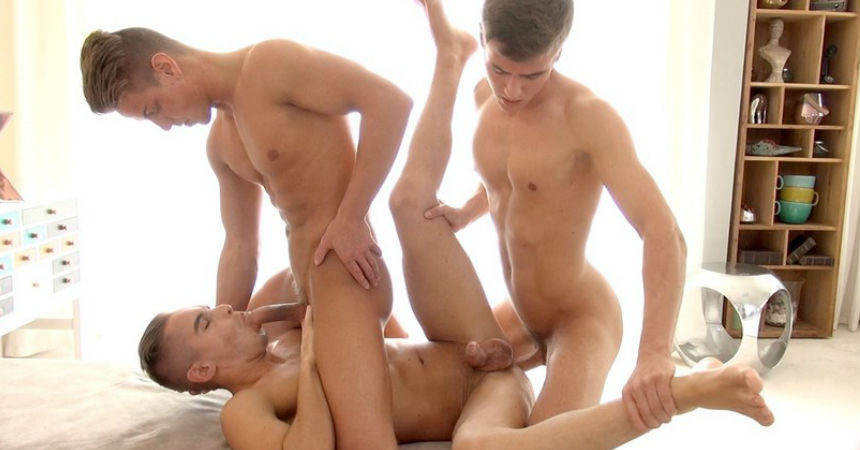 Roald Ekberg and Jason Bacall double-penetrate Adam Torres in his BelAmi debut