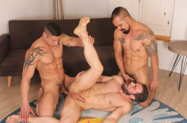 Amir Dib and Julio Rey tag-team Jose Quevedo in a hot Kristen Bjorn threesome