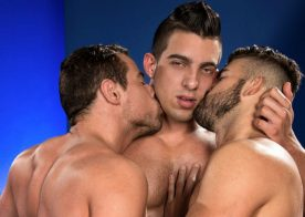 """Jacob Taylor fucks Jonah Fontana and Derek Deluca in """"Bout To Bust"""" part four from Raging Stallion"""