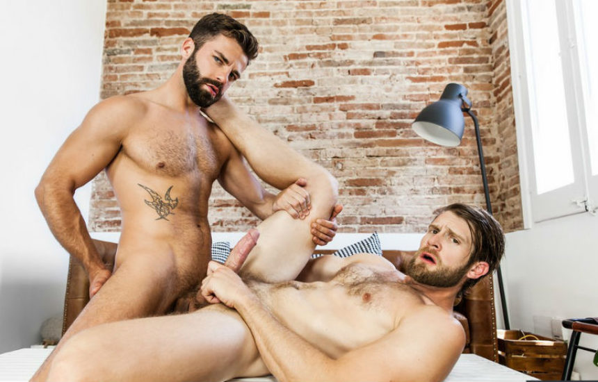 "Bearded muscle studs Colby Keller and Hector De Silva flip-fuck in ""Kindred"" from Men.com"