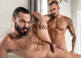"""Muscle top Damien Crosse fucks Jessy Ares' hairy hole in """"A Return"""" from Men.com"""