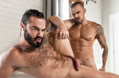 "Muscle top Damien Crosse fucks Jessy Ares' hairy hole in ""A Return"" from Men.com"