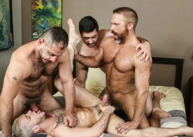 """Dirk Caber, Marc Giacomo and Derek Bolt fuck Colton Grey in """"Hairy Tales"""" part three"""