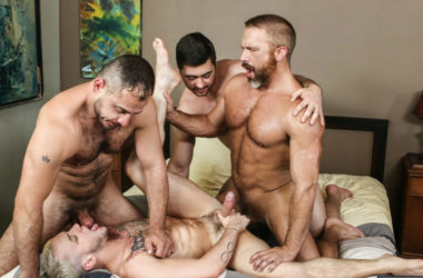 "Dirk Caber, Marc Giacomo and Derek Bolt fuck Colton Grey in ""Hairy Tales"" part three"