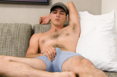 Hot newcomer John B strokes his juicy cock at Next Door World