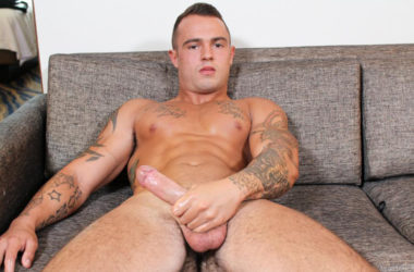 Active Duty's latest recruit Johnny B gets naked and jerks off