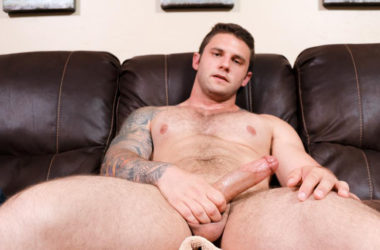 Muscular and hung newcomer Rocke jerks off for Active Duty