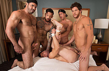 Billy Santoro, Jordan Levine, Beau Warner and Ashton McKay fuck James Edwards at Bromo