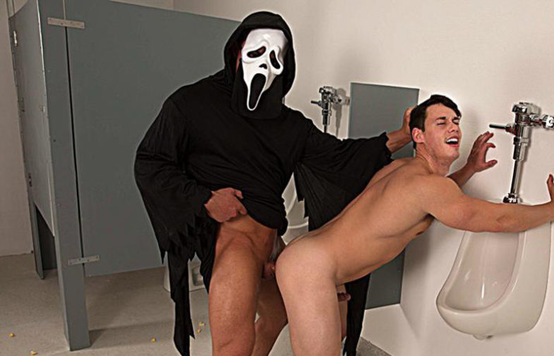 """Masked stud Brad Banks shoves his raw cock inside Tobias' ass in """"Cream For Me"""" part 2"""