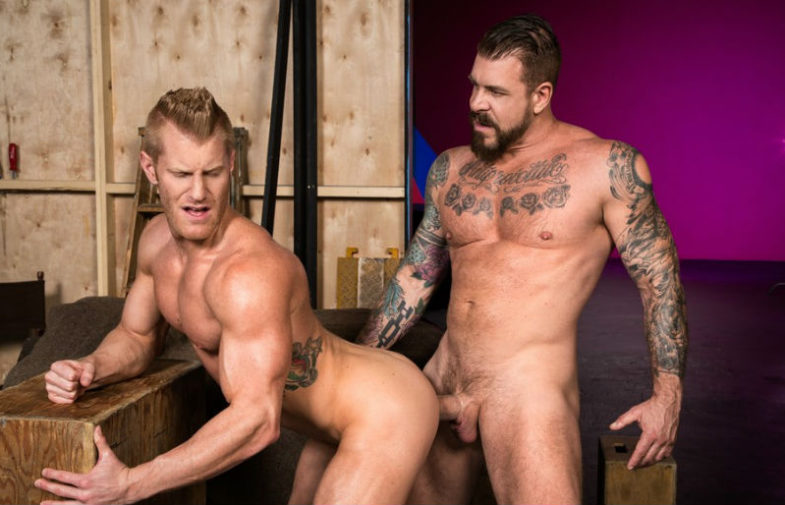 """Rocco Steele bangs muscle hunk Johnny V in """"Backstage Pass 2"""" part one from Raging Stallion"""