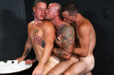 "Saxon West, Sean Duran and Jimmie Slater fuck in ""Warehouse Hookup"" part three"