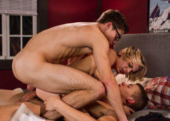 Blake Mitchell and Corbin Colby double-penetate Kyle Ross at Helix Studios