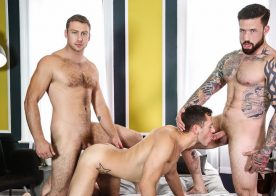 Jordan Levine and Connor Maguire team up to fuck Brenner Bolton at Men.com